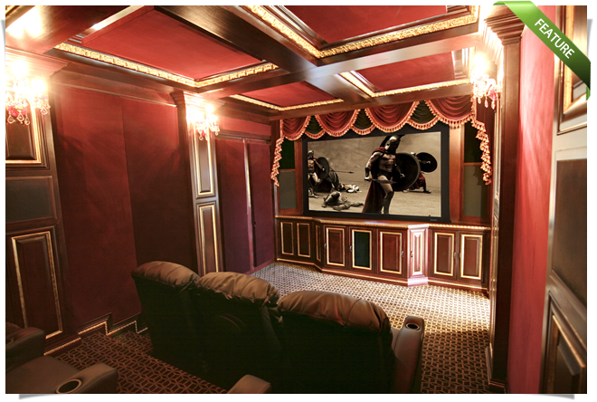 Home Theater installation featuring Stewart, Digital Projection and Crestron Equipment